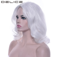 DELICE Women White Wavy Party Cosplay Wig High Temperature Fiber Synthetic Hair Hair Accessories Headwear Wigs