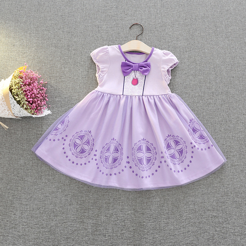 2018 Summer Newborn Formal bebe girl dress Purple Infant Baptism Ball Gown Dress Clothes For Toddler Girl First Birthday Party