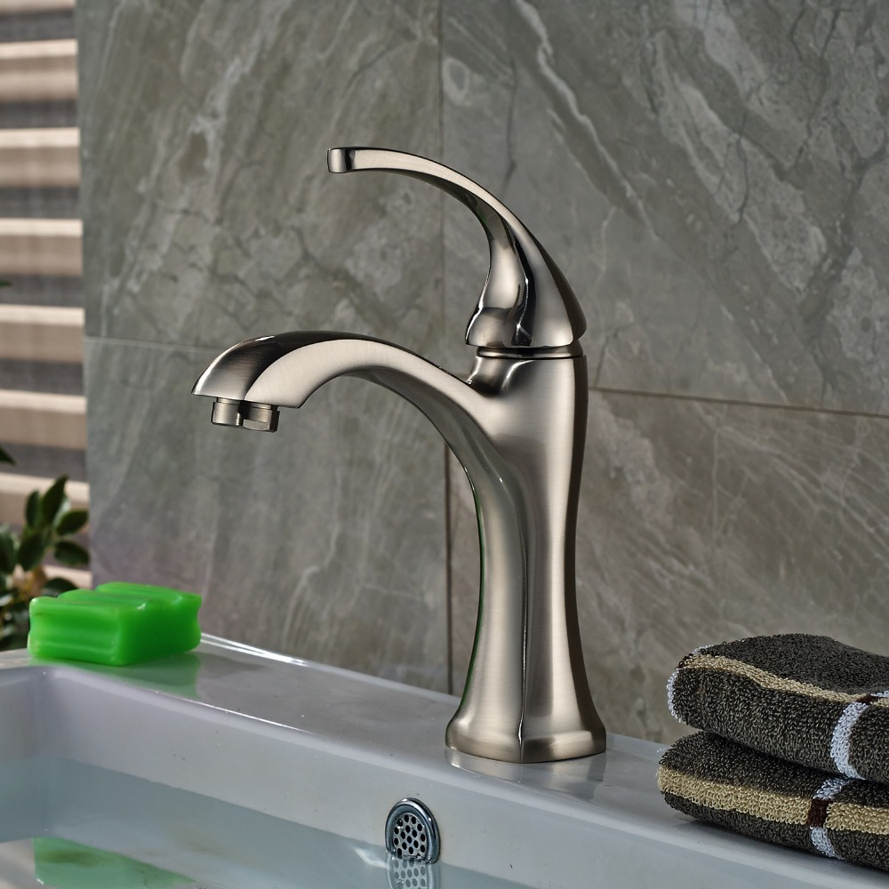 Free Shipping Newly Style Single Handle Bathroom Sink Faucet Single Hole Mixer Tap Nickel Brushed newly nickel brushed bathroom sink faucet cold