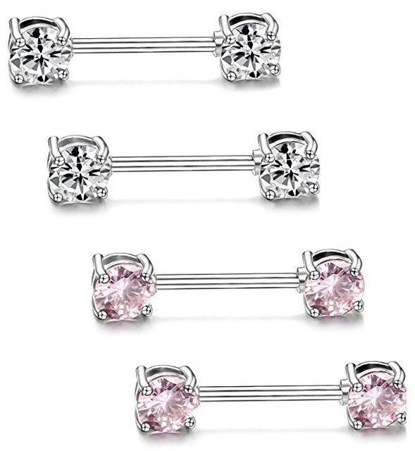 MODRSA 1 paire Zircon Dangle mamelon Piercing anneau boucliers barres en acier inoxydable mamelon anneaux corps Piercing bijoux pour femmes