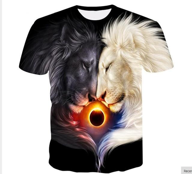 d986d11f35d8 BZPOVB Big yards New Fashion Brand T-shirt Men Women Summer 3d Tshirt Print  Yin and Yang lion T shirt Tops Tees