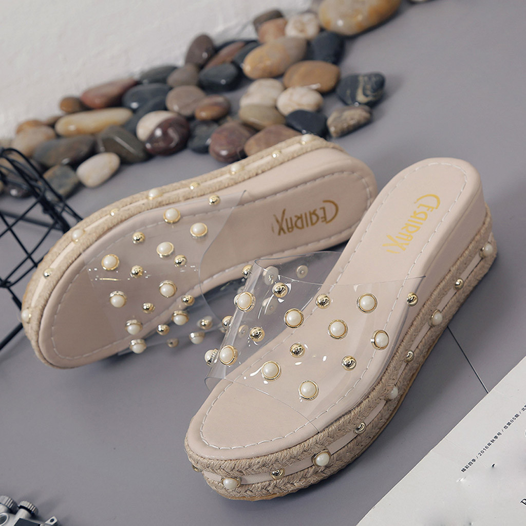 Fashion Jelly Sandals Summer Candy Slippers Woman Shoes Flats Ladies Womens Zapatos Mujer Slip On Pearl Beach Wedges Jelly Shoe