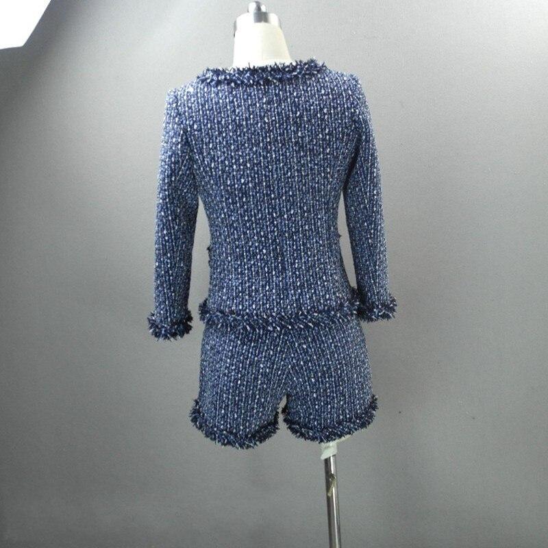 De Tenues Pièce 2019 En Nouveau Fit As Shorts Splice Femmes Femelle Coréenne Élégante The 2 Hiver Automne Pièces Picture Costumes Tweed Slim Tenue Veste Gland q6q4Rw