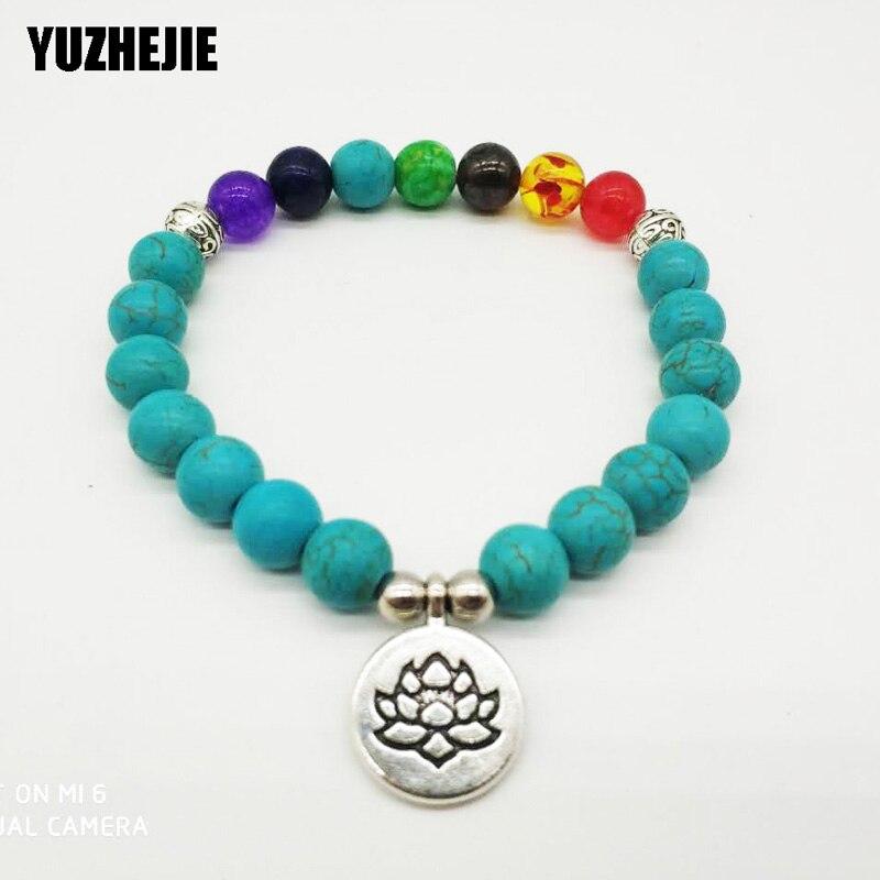YUZHEJIE 2018 Fashion Design Women`s Bracelet Vintage Yoga 7 Chakra Bracelet Natural Stone Balance Bracelet Best Gift for Her
