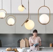 Homhi עגול זכוכית כדור תליון אור led decoracao מטבח מתקן נורדי בית דקו שינה לופט אור זהב מקורה תליית מנורה