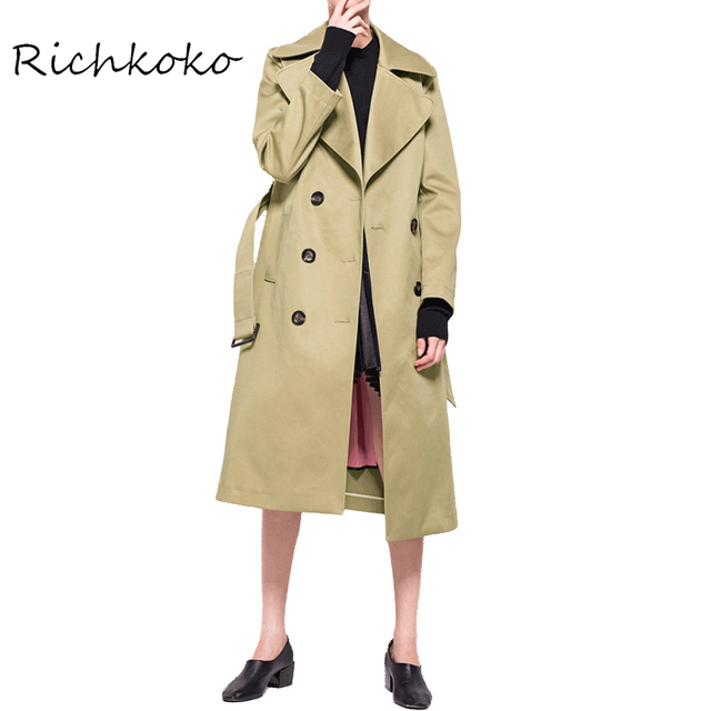 Richkoko Apparel Autumn Fashion Women Double Breasted Silm Sash Longline Turtleneck Coat  Warmth-Preservation Street Wear Parka