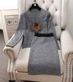Nuevo Invierno Europeo de la Moda Fresa Rhinestone Agraciado Wrap Hip Lápiz falda de Midi de manga larga Mujeres Knit 2 unids trajes 1243