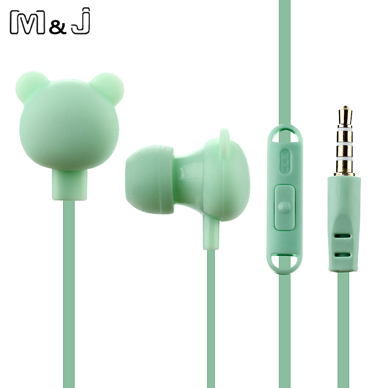 M & J Cartoon Cute Øretelefon 3,5 mm I Øre Kablet Headset Med Mikro Remote Bear Earpod Til iPhone Samsung Xiaomi For Børn Gave