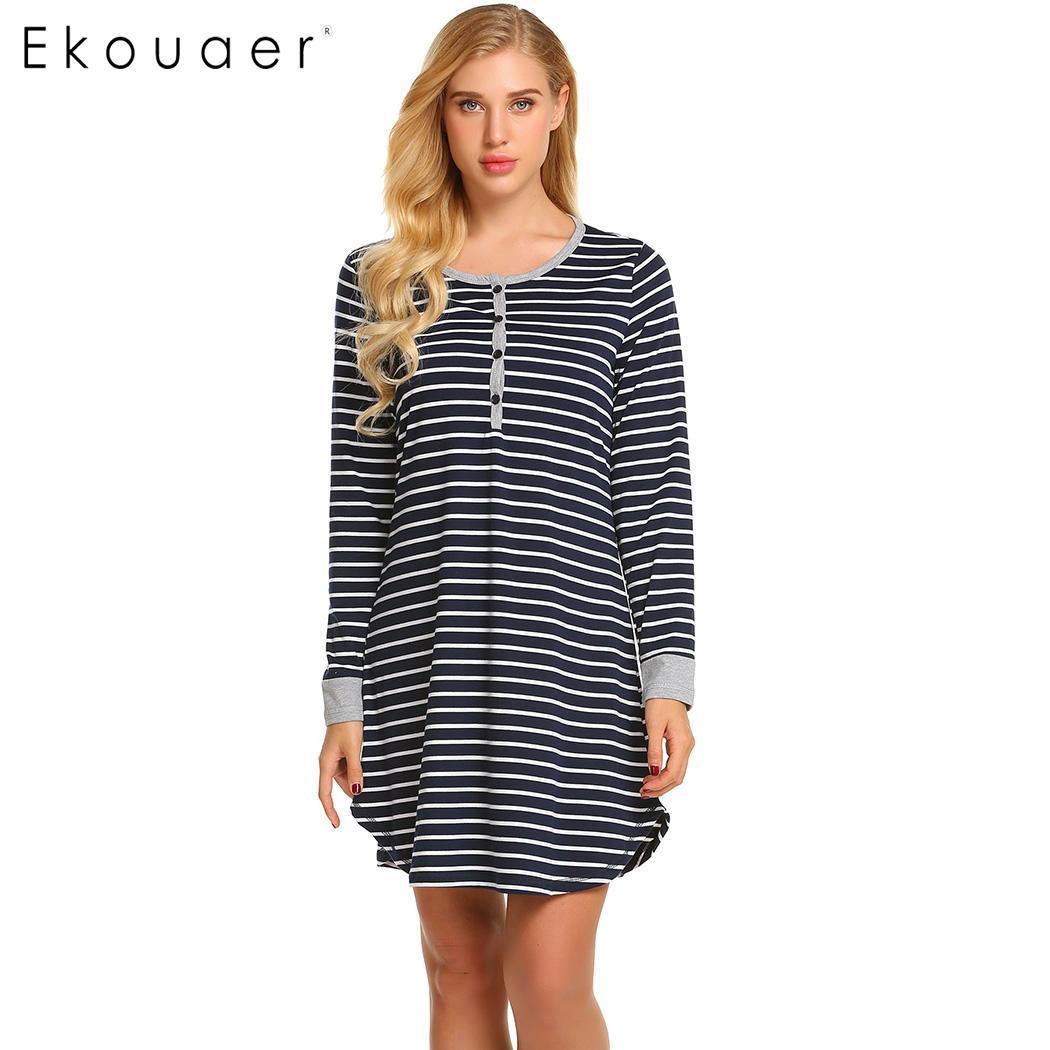 Striped nightwear night dress women o-neck button nursing pregnant sleepwear  nightdress lady sleepshirts homewear 7b4197855