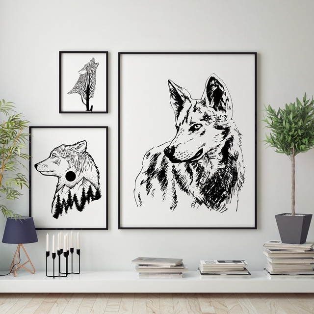 Wolf Wall Art wild animal wolf wall art print pictures , hand drawn wolf canvas