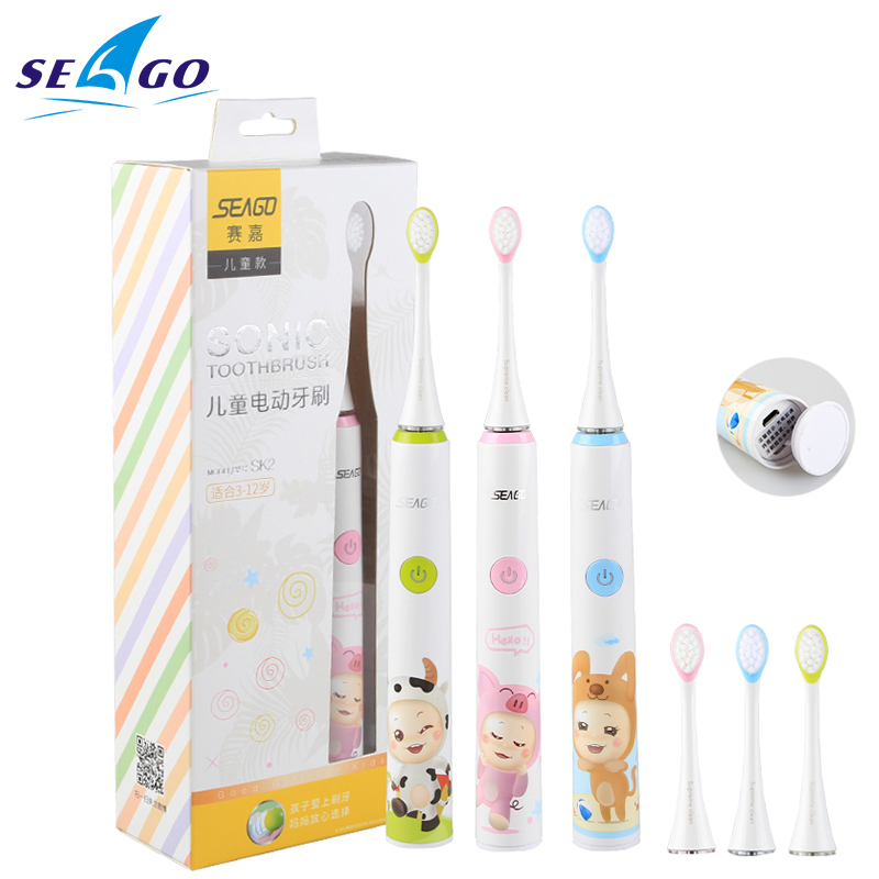 SEAGO Electric Toothbrush For Kids Safety Waterproof Children Sonic Tooth Brush With 2pcs Extra Soft Bristles SK2