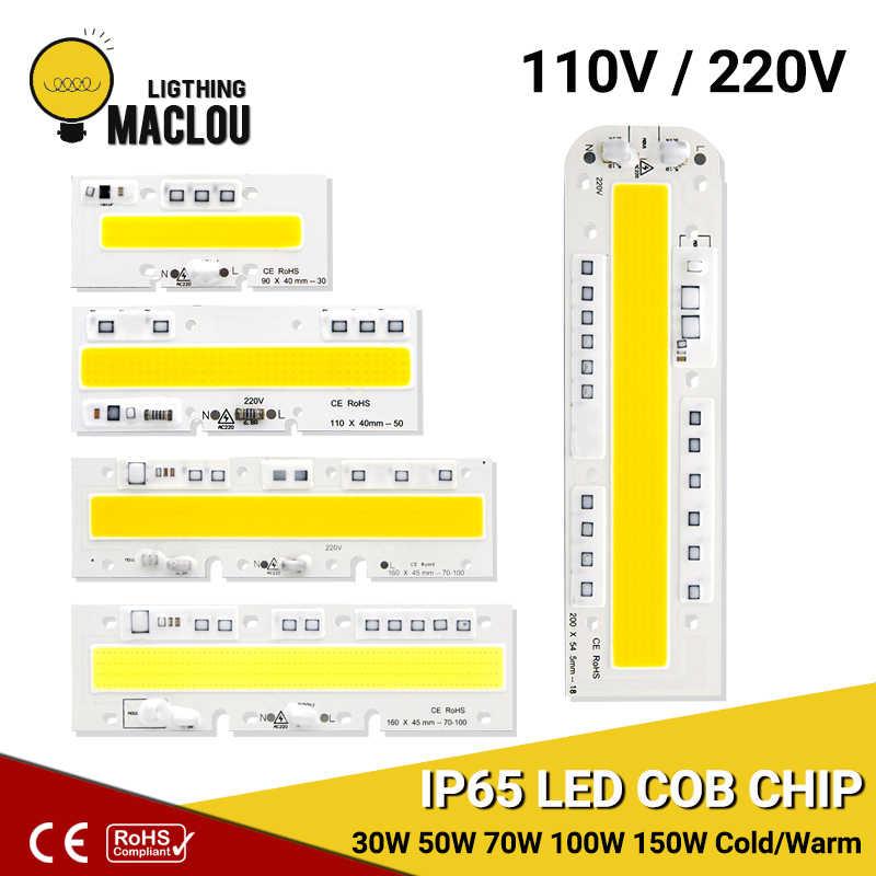 LED Cob שבב מנורת 110 V 220 V 30 W 50 W 70 W 100 W 150 W LED שבב ip65 חכם IC DIY גבוהה כוח LED הארה זרקור תאורת מנורה