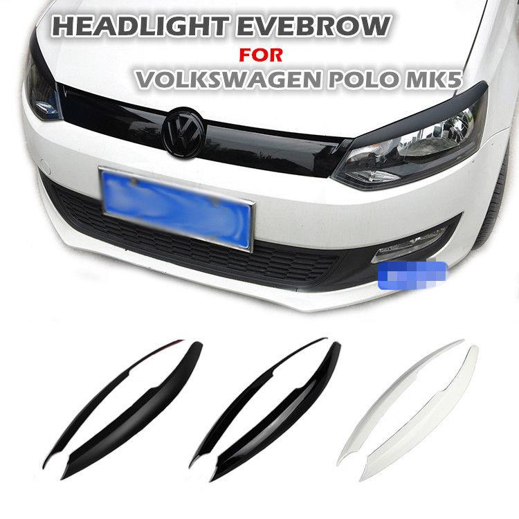 1 Pair ABS Headlight Eyebrows Eyelids Car Trim Sticker for VW POLO 6R MK5 2011-2017 headlight eyebrow eyelid for nissan skyline r33 gtr gtst carbon fiber eyebrow eyebrows eyelids car accessories