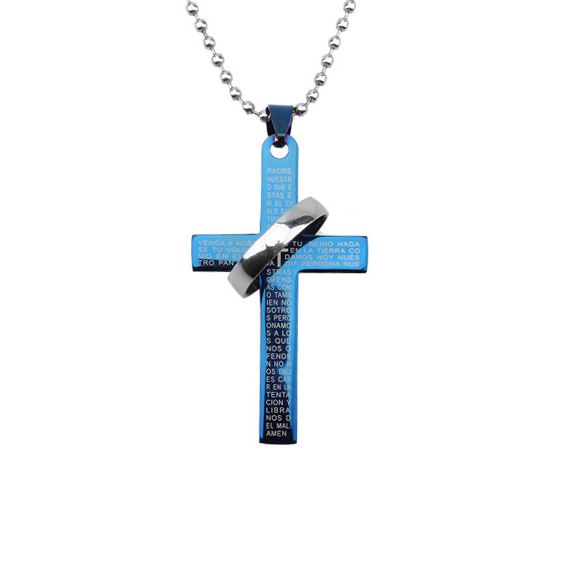 Mens Stainless Steel Pendant Necklace Special Circle Cross E2shopping @M23