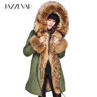 JAZZEVAR Для женщин Роскошные Большой raccon меховой воротник и манжеты пальто с капюшоном Съемная кролик лайнер парки верхняя одежда Длинные зим
