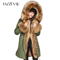 JAZZEVAR 2019 Women Luxury Large raccoon fur Collar Cuff Hooded Coat Detachable Rabbit Liner Parkas Outwear Long Winter Real Fur