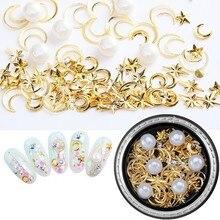 REE# 1 Box Mixed Nail Art Rhinestone Pearls 3D Decorations Metal Moon Star Studs Gold Charms DJS01-14