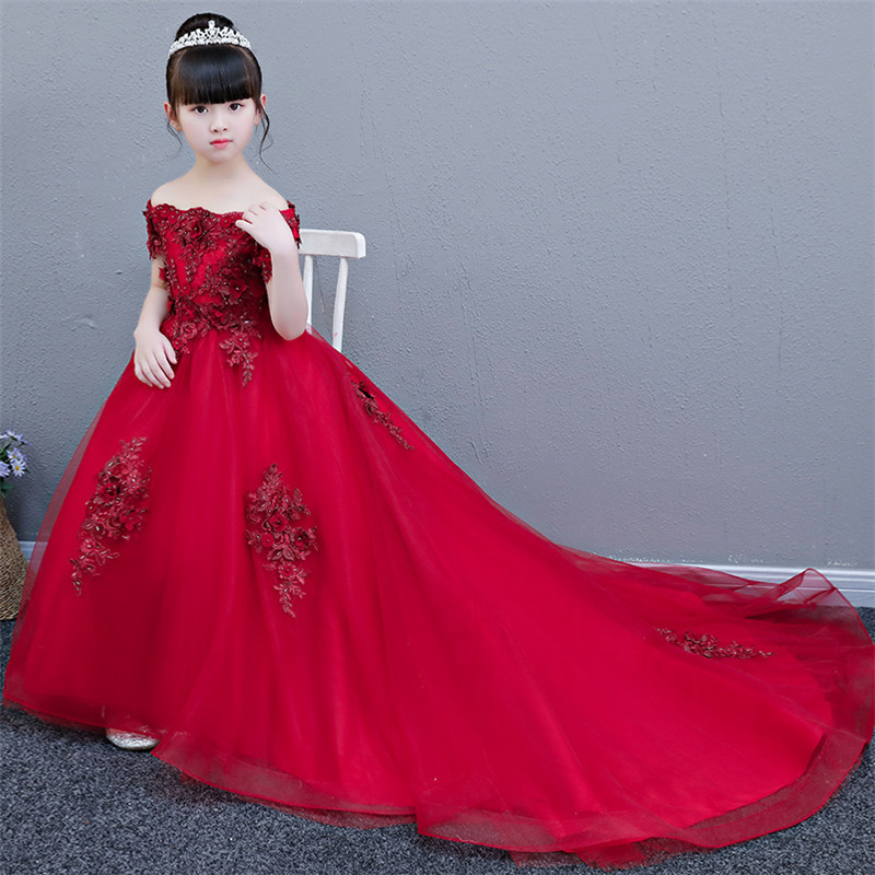 2018 Children Girls Luxury Birthday Wedding Party Red Pink Color Long Tail Princess Lace Dress Kids