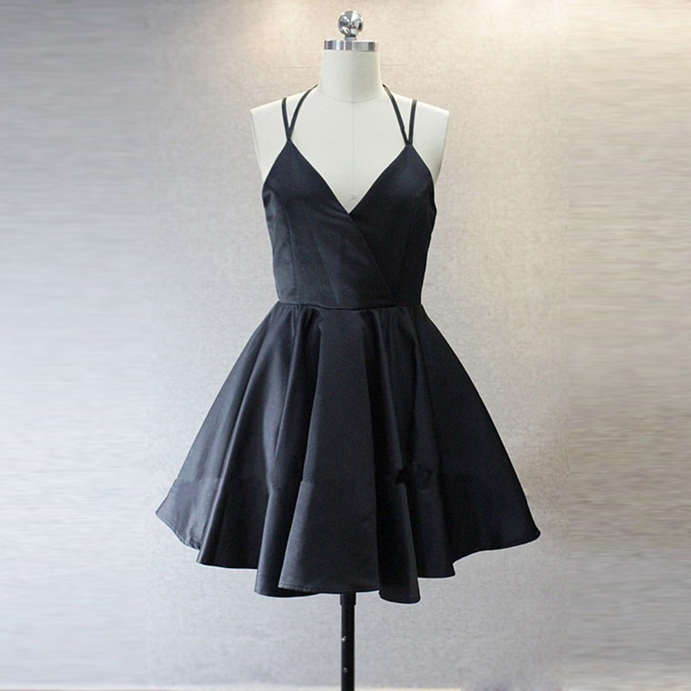 Detail Feedback Questions about BeryLove Navy Short Homecoming Dresses 2018  Simple V Neck Satin Cocktail Party Dresses Spaghetti Straps Homecoming Gowns  ... c6632554c282