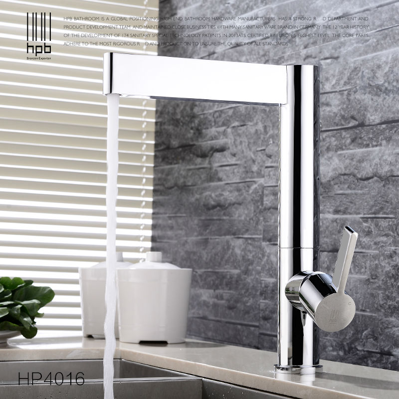 HPB Brass Kitchen Faucet Mixer Tap Deck Mounted for Sink or Basin Single Handle Single Hole Hot and Cold Water HP4016