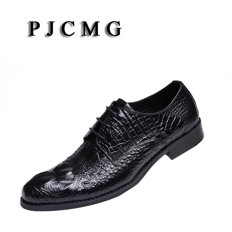 PJCMG New Black /Wine Red Mens Dress Lace-Up Oxfords Pointed Toe Genuine Leather Wedding Mens Business Work Shoes pjcmg fashion high quality wine red black formal oxfords business genuine leather lace up dress breathable mens wedding shoes