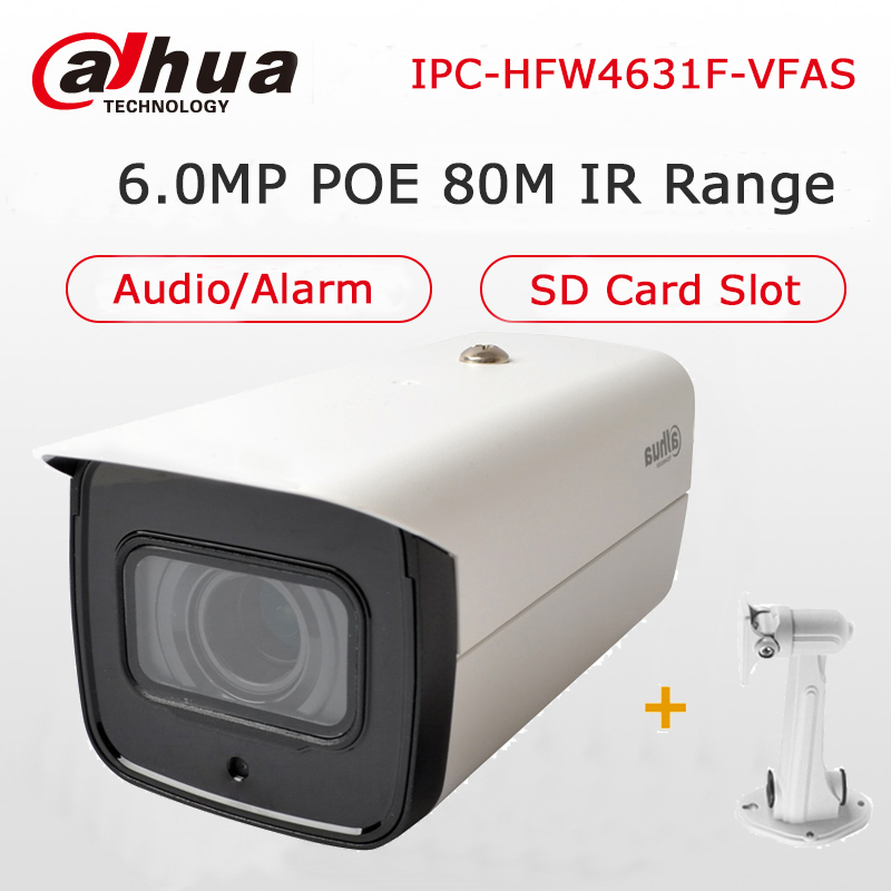 Dahua 6MP IP POE Camera IPC-HFW4631F-VFAS 2.7-13.5mm Manual Zoom Lens Built-in SD Card Slot Audio Alarm Interface IP Camera CCTV