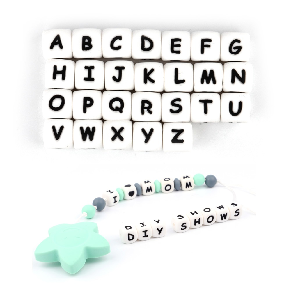 TYRY.HU 10pcs English Alphabet Silicone Letter Bead DIY Baby Teething Beads Teether Toy Necklace Food Grade Silicone Beads 12mm
