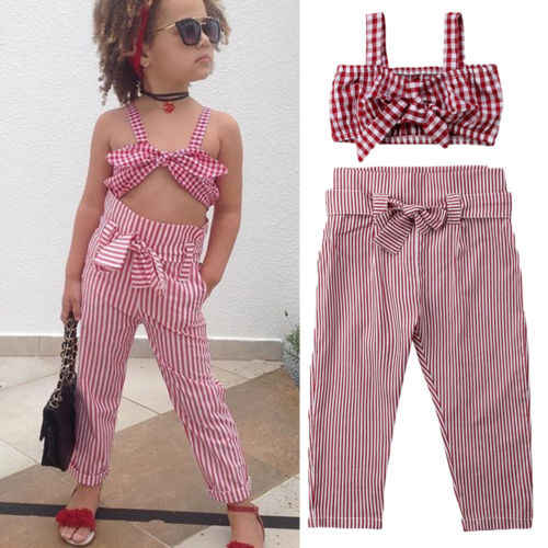 eb4af8eb6cb01 Children Red Plaid Clothes Set Summer Fashion Kids Baby Girls Plaid Crop  Top Vest+Casual Long Pants Toddler Outfits Set