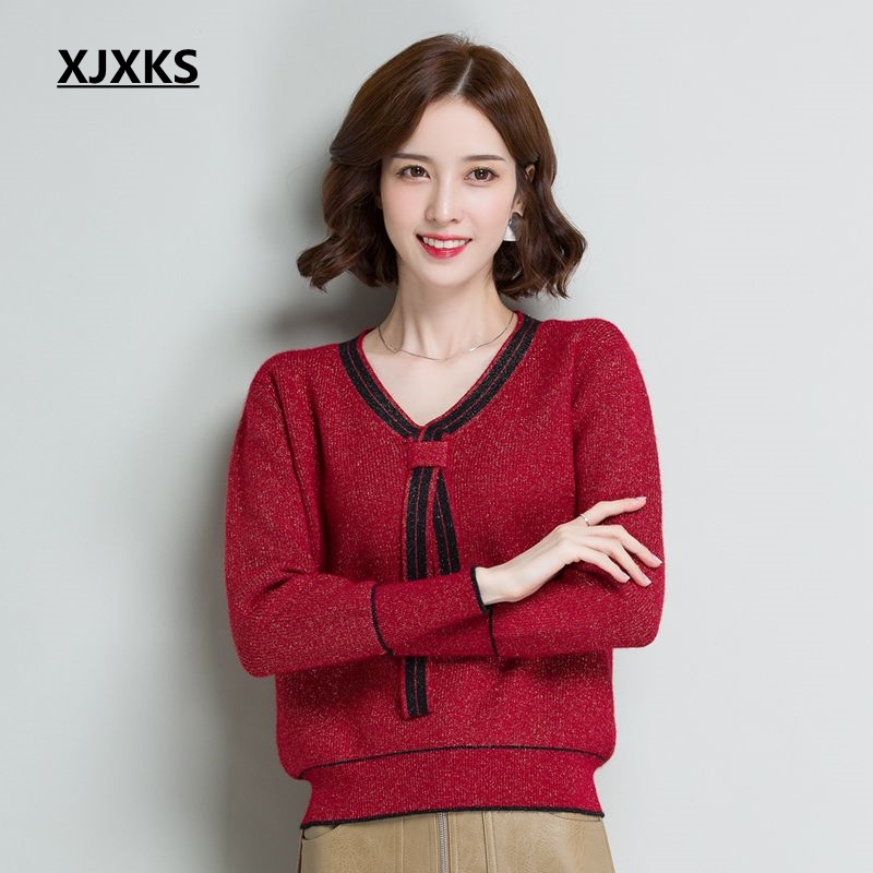 Women Quality V Casual Elastic Sweaters Knitted Sweater Pullover Hiver Short High Sleeve camel Xjxks Long Black burgundy Pull neck Femme xqY0nt7W