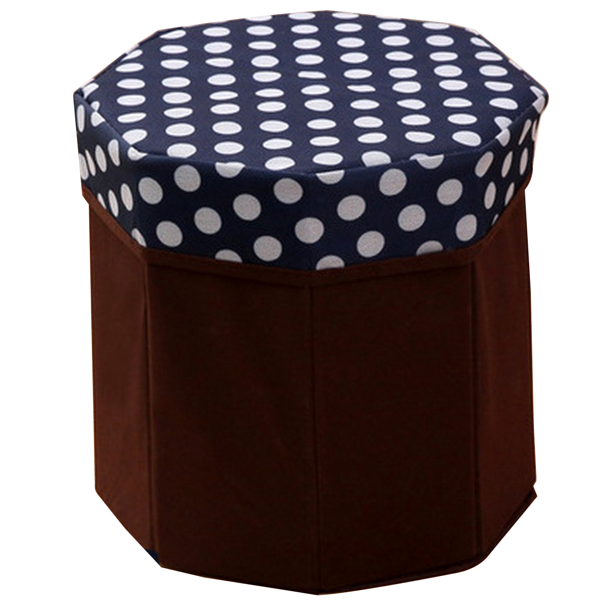 Creative Folding Storage Organizer Circular Multi-function Storage Box For Clothes Books Living Goods (Dot Navy Blue)