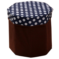 Kreatywny składany do przechowywania organizator okrągły wielofunkcyjny pudełko do przechowywania na ubrania książki dzienny towarów (Dot granatowy niebieski) Stołki i otomany Meble -