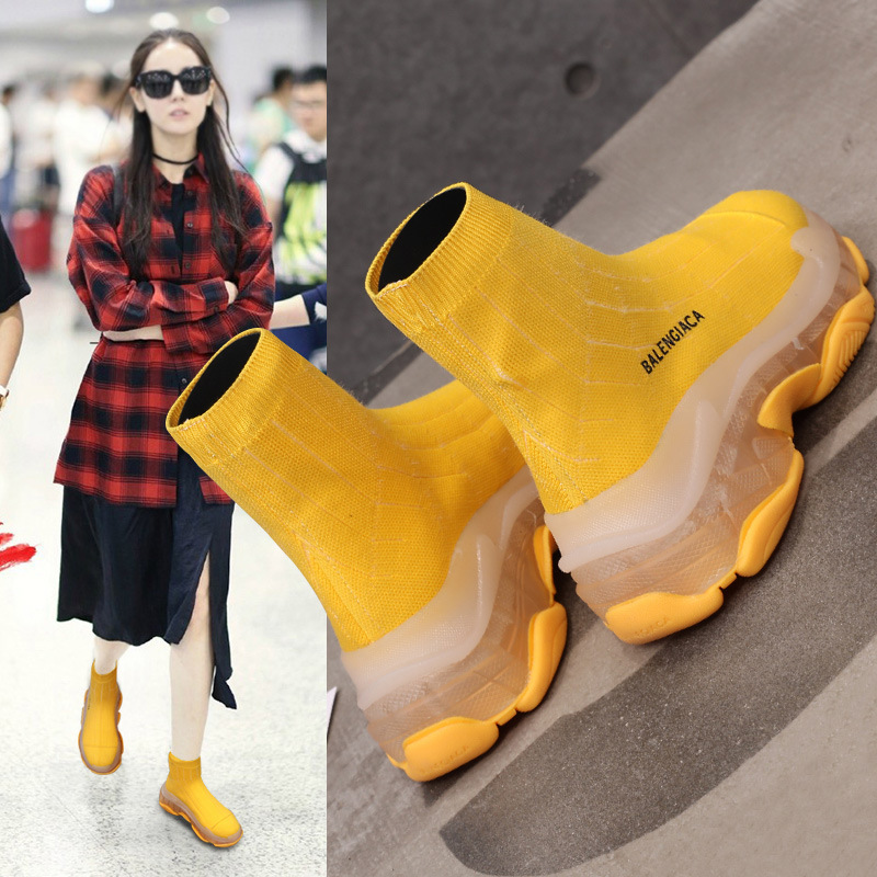Noir Femme Top Pour Femmes Course Bottes Chaussette jaune De Sneakers Sport Minimalistes High Chaussures 4xaAqP