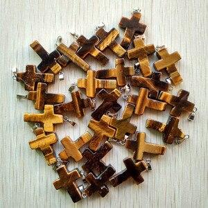 Image 5 - Atacado 50 pçs/lote pedra natural mista cor mista, encantos cruz colares fabricação de jóias