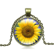 Luxury Brand Jewelry with Silver/Bronze Plated Glass Cabochon Sunflower Shaped Choker Pendant Necklae for Women Gift