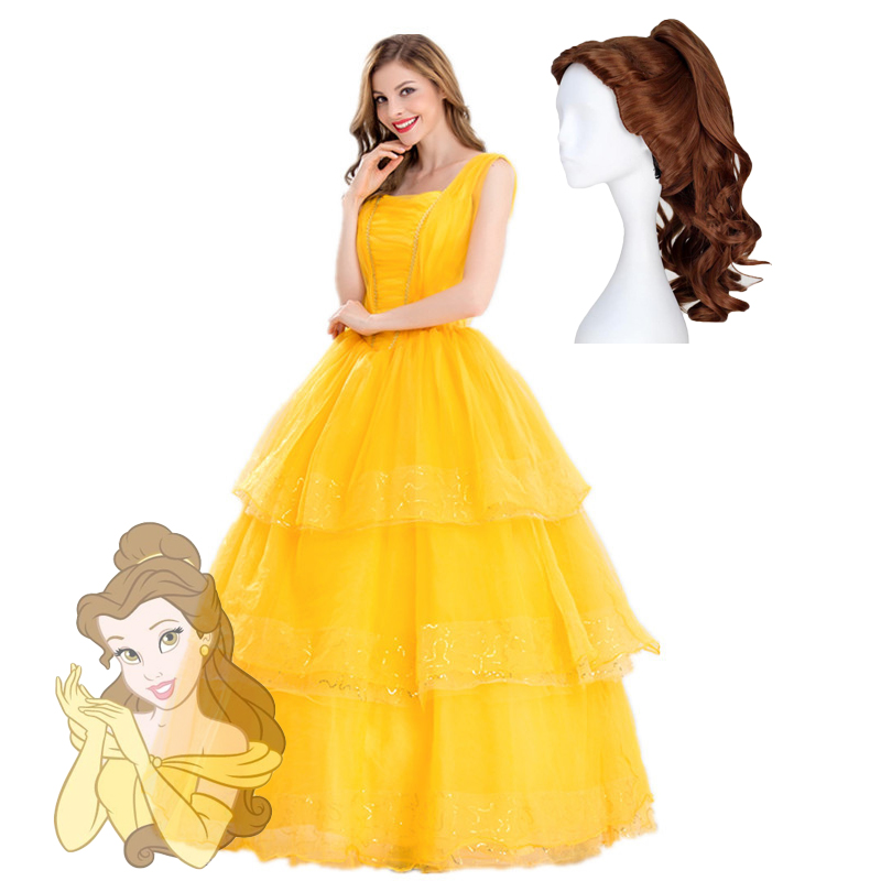 Adult Princess Belle Costume Beauty And The Beast Cosplay Women Dresses Fancy Ball Gown Yellow Tiered Skirt Halloween Party