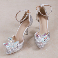 Small Size 33 Glass Slipper Silver Crystal Wedding Shoes Bride Dress Shoes Elegant Show Catwalk Shoes