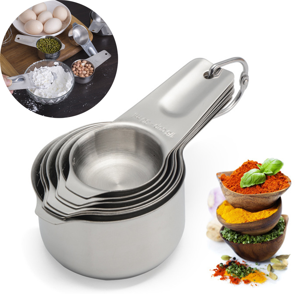 Pokich 7Pcs/Set Stainless Steel Measuring Cup Kitchen Measuring Spoon For Baking Tea Coffee Accessories Tool Kits(China)