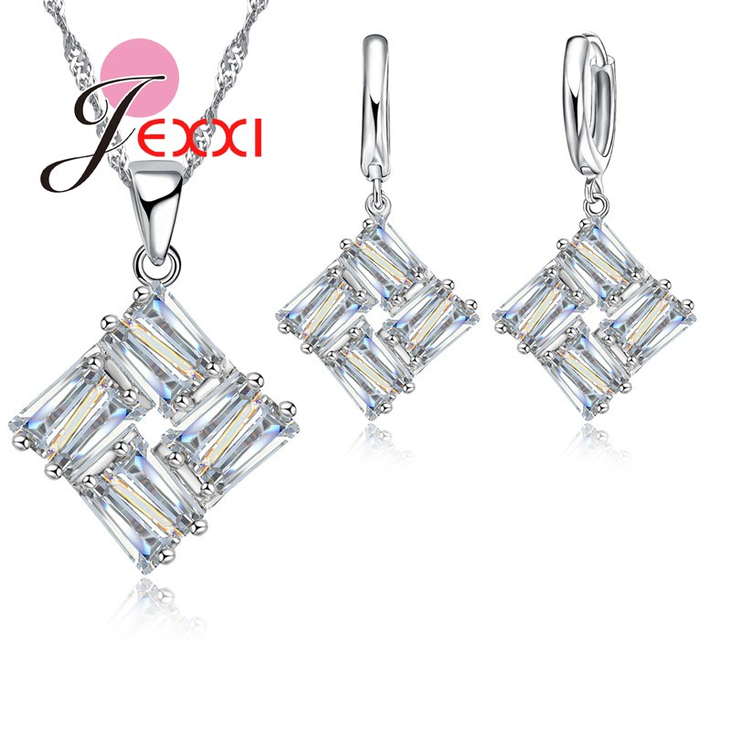 High Quality Square Zirconia Crystal 925 Sterling Silver Pendant Necklaces Hoop Earrings Bridal Wedding Jewelry Set