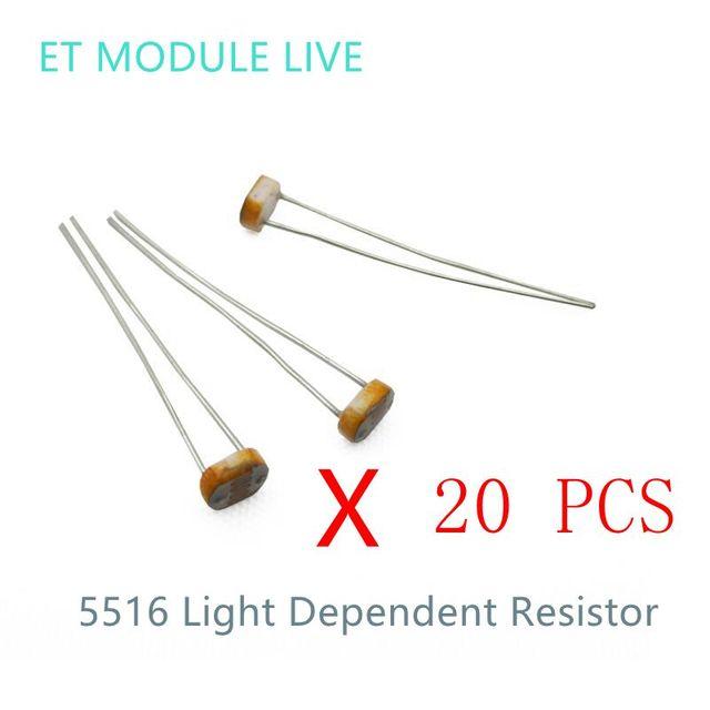 MH ET LIVE 20PCS 5516 Light Dependent Resistor LDR 5MM Photoresistor ...