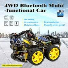 2017 Новогодний подарок! Keyestudio 4WD Bluetooth многофункциональный DIY Автомобиля + Руководство Пользователя/с отверткой Для Arduino Робот стартер