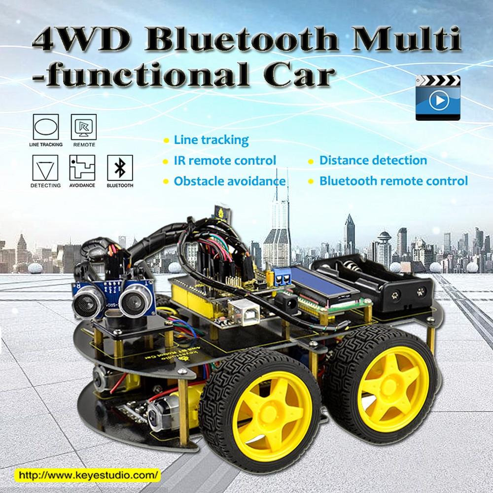 Keyestudio 4WD Bluetooth multifunktionale DIY Smart Auto Für Arduino Robot Bildung Programmierung + Bedienungsanleitung + PDF (online) + Video