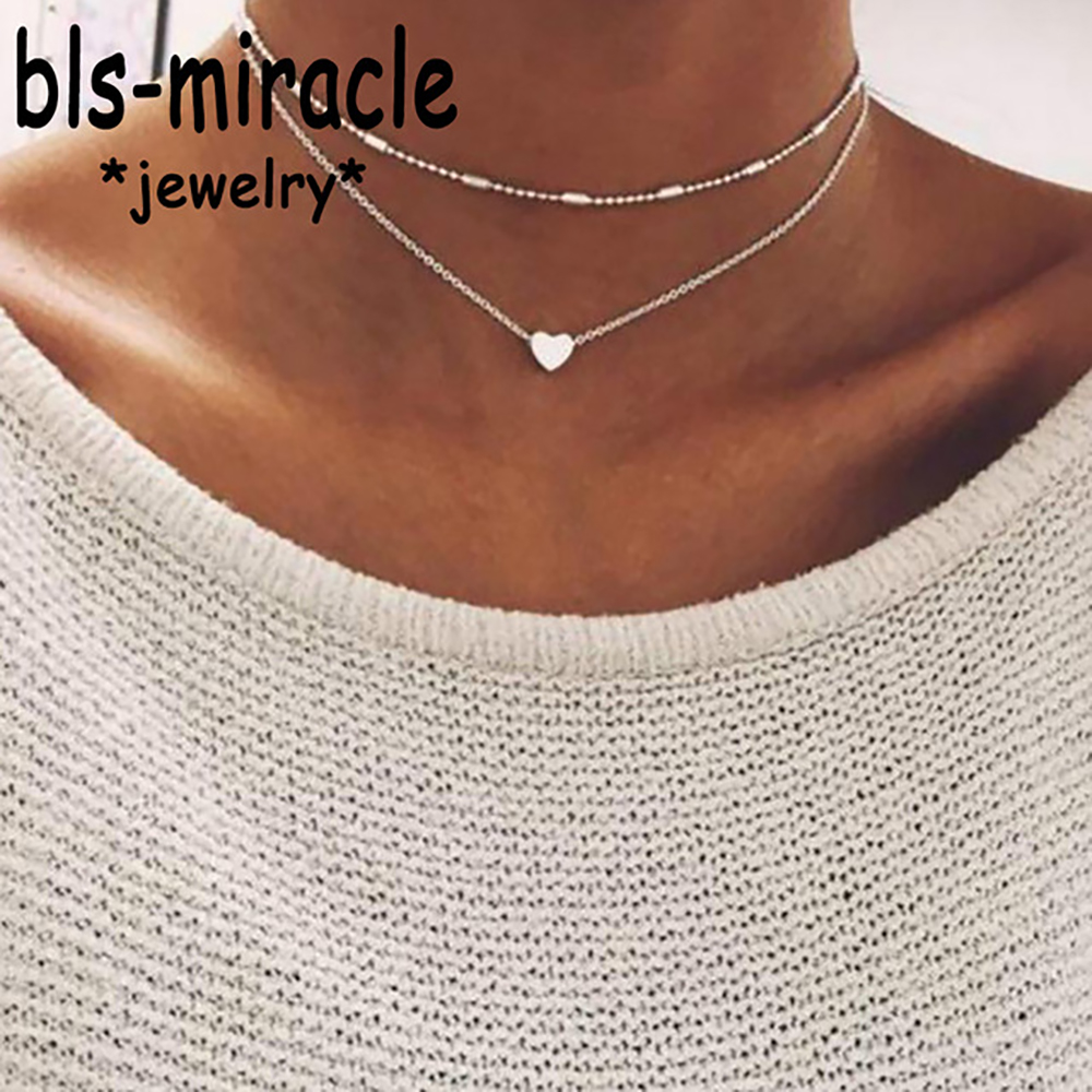 Bls-miracle Bohemian Alloy Heart-Shaped Choker Necklaces New Fashion Charm Pendant Necklace for Women Vintage Jewelry N418