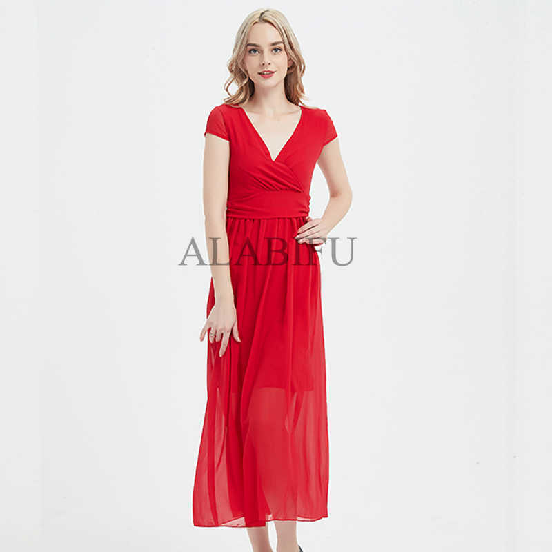 2d8a295eab50d ALABIFU Women Summer Dress 2019 Plus Size Chiffon Casual Slim V-neck White  Dress Elegant Long Maxi Dress For Women vestidos
