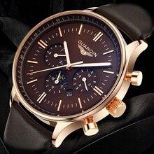 レロジオ masculino GUANQIN メンズ腕時計トップブランドの高級クロノグラフ軍事クォーツ時計男性スポーツレザーストラップ腕時計