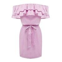 Women Off Shoulder Striped & Patchwork Ruffles Strapless Summer Dresses Mini Beach Dresses
