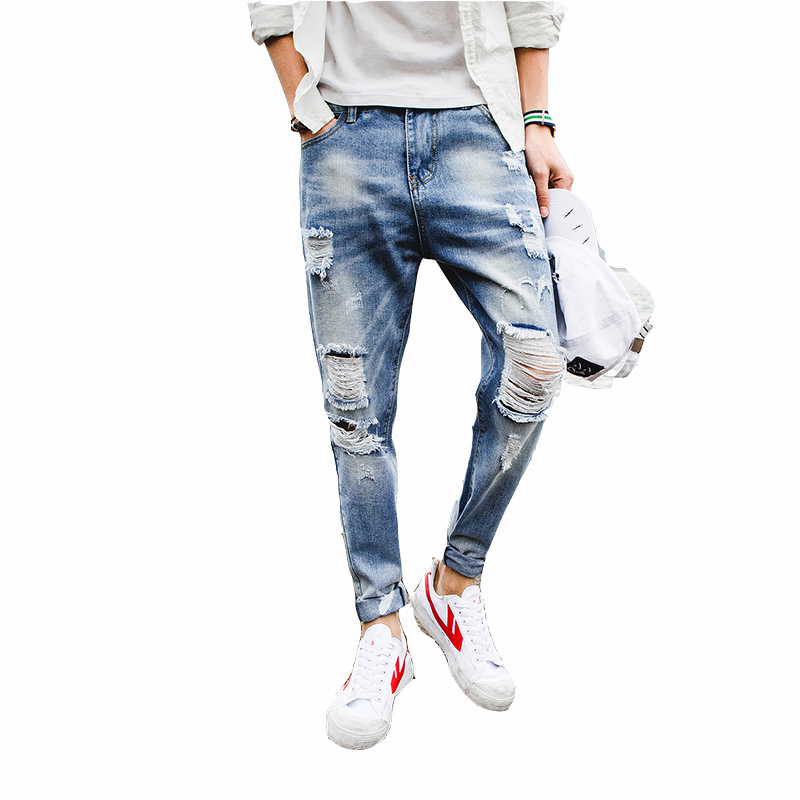 10a5cbff 2018 Cropped Pants High Quality Top Designer Distressed Men Jeans Denim  Pants Male Biker Trouser -in Jeans from Men's Clothing & Accessories on ...