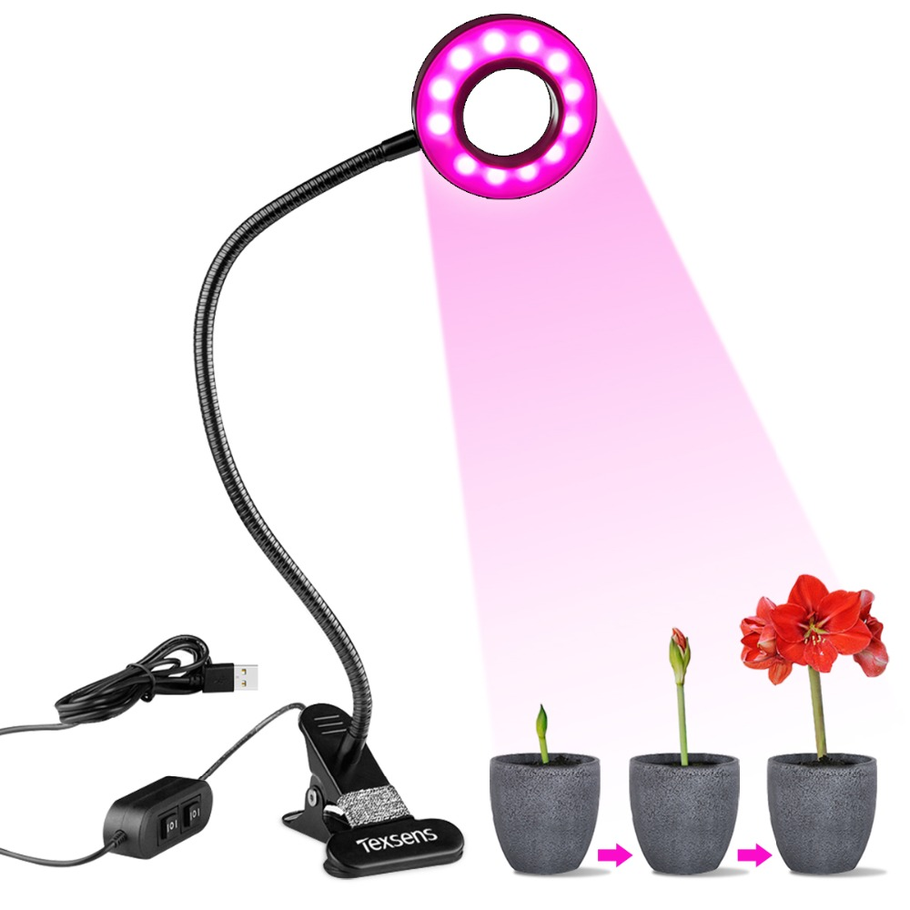 Texsens Led Grow Light Aluminum Hydroponic Lighting with Clip Plants Lamps Flower Hydroponics System Indoor Garden Greenhouse