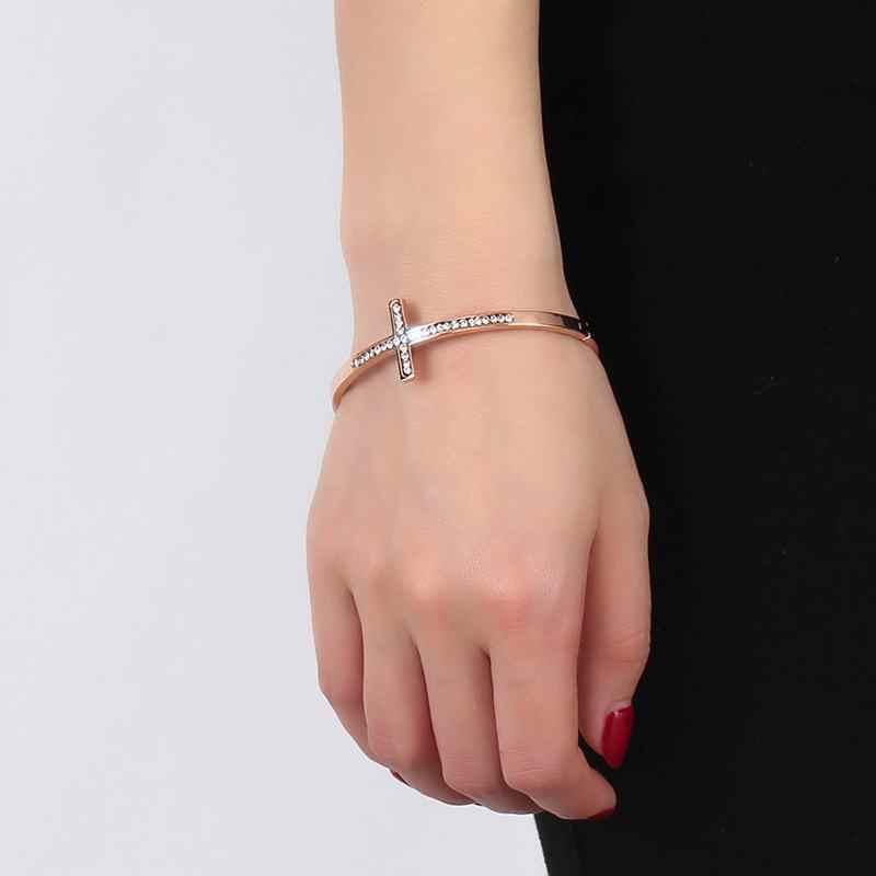 4 мм браслеты на запястье Крест из розового золота циркон камень блестящие стразы женские браслеты Pulseira Feminina ювелирные изделия из нержавеющей стали