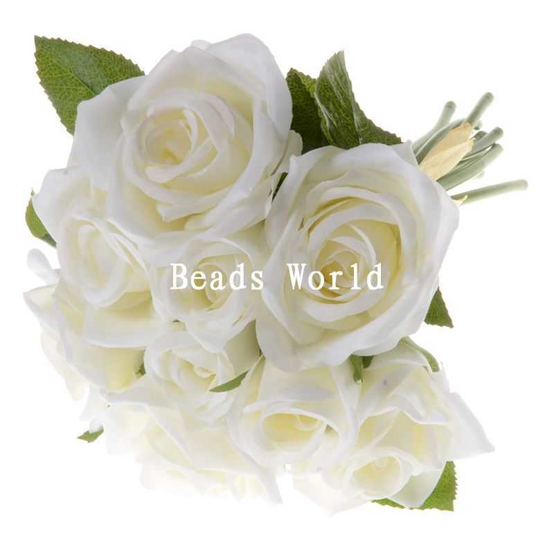 High Quality Export 1 Bunch White Silk Artificial Flower Rose Bouquet Wedding Home Decoration Party Decoration 27cm