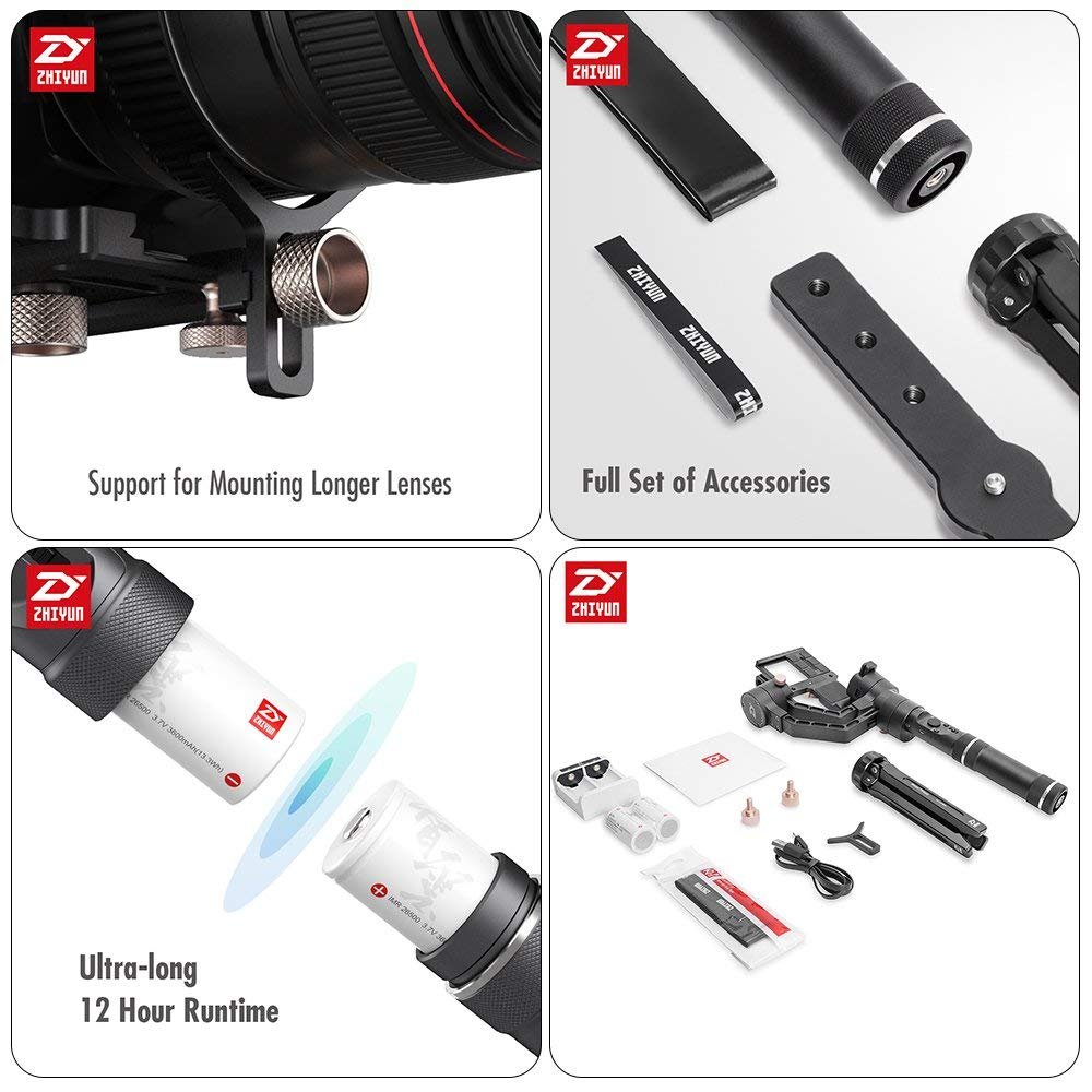 Zhiyun Crane Plus 3 Axis Handheld Gimbal faaaor Sony Canon DSLR Mirrorless Camera 5.5lb Payload Timelapse Object Track FPV POV Mode2112